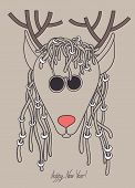 image of dreads  - original hipster christmas deer with sunglasses and dreads hair - JPG