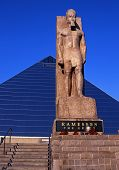pic of memphis tennessee  - View of the Ramesses statue and The Pyramid Arena Memphis Tennessee USA - JPG