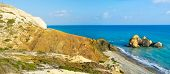 pic of saracen  - The Saracen rock on the Paphos coastneighboring with the famous Petra tou Romiou and the Aphrodite harbor Cyprus - JPG