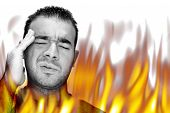 pic of hade  - A man experiencing pain and suffering with hot fiery flames burning around him - JPG