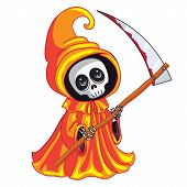 picture of scythe  - Death with a scythe in his hands on white background - JPG