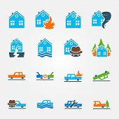 pic of car symbol  - Bright flat insurance icons vector set  - JPG