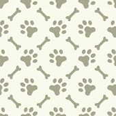 stock photo of dog footprint  - Dog paw seamless pattern  - JPG