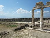 foto of artemis  - Columns and ruins of ancient Artemis temple in Hierapolis Turkey - JPG
