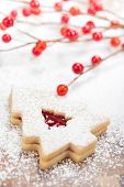 image of linzer  - Christmas Tree Linzer cookie with powdered icing sugar and red decorations in the background.