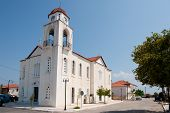 foto of nea  - Greek white church in Nea Koroni at the Peloponnesos - JPG