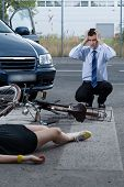 picture of blood drive  - View of woman after accident on bike - JPG