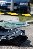 picture of corpses  - Corpse after car accident on the street - JPG