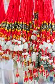 stock photo of keepsake  - Colorful of mobile for blessing God in the Chinese temple - JPG