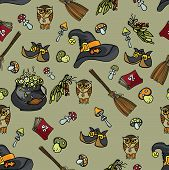 image of drow  - Halloween doodles seamless pattern or background from Wtches - JPG