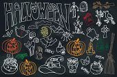picture of drow  - Halloween doodles icons set with text - JPG