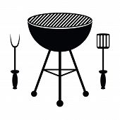 picture of dutch oven  - BBQ grill and cutlery on a white background - JPG