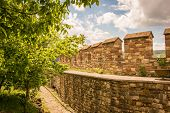 pic of reconstruction  - Reconstructed ancient castle wall in Veliko Tarnovo - JPG