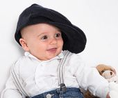 stock photo of french beret  - Laughing baby wearing French beret  - JPG