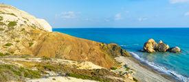 pic of saracen  - The Saracen rock on the Paphos coastneighboring with the famous Petra tou Romiou and the Aphrodite harbor Cyprus - JPG