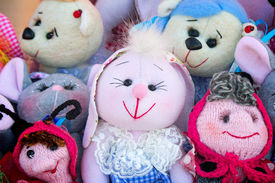 picture of rag-doll  - The souvenirs in the form of amusing dolls sewed from rags of fabric and laces - JPG