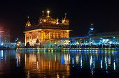 pic of harmandir sahib  - Golden Temple (Harmandir Sahib also Darbar Sahib) at night. Amritsar. Punjab. India
