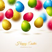 image of egg  - Happy Easter Greeting Card with Colorful Eggs - JPG