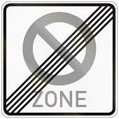 stock photo of traffic rules  - German traffic sign indicating the end of a zone with reduced traffic and a speed limit of 30 kilometers per hour - JPG