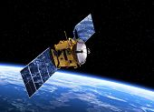 picture of planet earth  - Communication Satellite Orbiting Earth - JPG