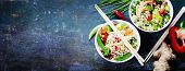 stock photo of shrimp  - Chinese noodles with vegetables and shrimps - JPG
