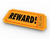 stock photo of award-winning  - Reward word on a raffle or contest ticket for you to claim your award - JPG