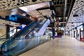 stock photo of mall  - modern bright shopping mall indoor architecture - JPG