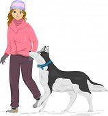 picture of husky  - Illustration of a Girl Taking Her Siberian Husky for a Walk - JPG
