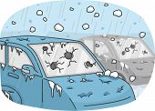 picture of storms  - Illustration of Cars Incurring Heavy Damages Due to a Hail Storm - JPG