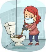 foto of toilet  - Illustration of a Girl Trying to Unclog a Toilet Bowl - JPG