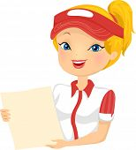 image of clip-art staff  - Illustration of a Female Fast Food Restaurant Employee Holding a Menu - JPG