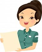 picture of clip-art staff  - Illustration of a Female Bistro Worker Holding a Menu - JPG
