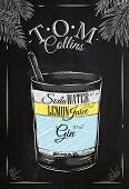 foto of collins  - Tom Collins cocktail in vintage style stylized drawing with chalk on blackboard - JPG