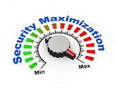 picture of maxim  - 3d illustration of knob set at maximum for security maximization - JPG