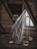 stock photo of attic  - Fantasy scene in the attic with music and books - JPG
