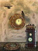 stock photo of steampunk  - Fantasy scene with steampunk style in the sky - JPG
