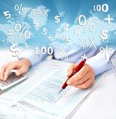 pic of accounting  - Hands of accountant businessman with calculator - JPG