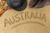 image of boomerang  - Australia outback or beach background with boomerang bush hat and boots - JPG