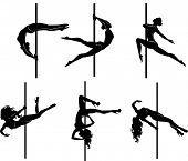 picture of pole dancer  - Vector illustration of pole dancers silhouettes in different poses - JPG