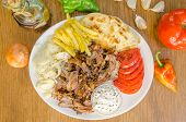 image of gyro  - Plate of traditional Greek gyros with meat - JPG