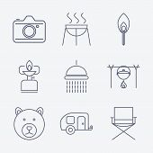 picture of trailer park  - Set of Outline stroke Camping icons on white background - JPG