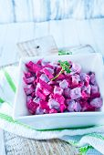 pic of lenten  - beet salad in bowl and on a table - JPG