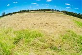 picture of haystack  - Australian rural field landscape with haystacks blue sky and white clouds - JPG