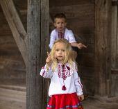 picture of national costume  - Little Ukrainian girl in national costume - JPG