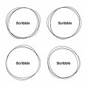 picture of circle shaped  - Set of Hand Drawn Scribble Circles - JPG