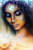 stock photo of airbrush  - A beautiful airbrush portrait of a young indian woman with closed eyes meditating upon a spiraling seashell - JPG
