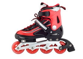 stock photo of inline skating  - Red rollerskating isolated on a white background - JPG