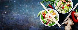 picture of shrimp  - Chinese noodles with vegetables and shrimps - JPG