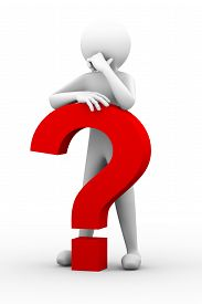 picture of 3d  - 3d rendering of thinking frastrated man with red question mark - JPG