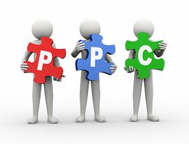 stock photo of payment methods  - 3d rendering of people holding puzzle pieces of ppc  - JPG